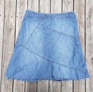 Sigrid Olsen denim jean panel pieced skirt